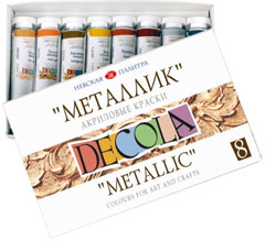 Akrilna boja metalik DECOLA 8x18 ml